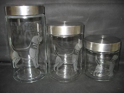 New Etched Beagle Glass Cookie Candy Treat Storage Jar Canister Set