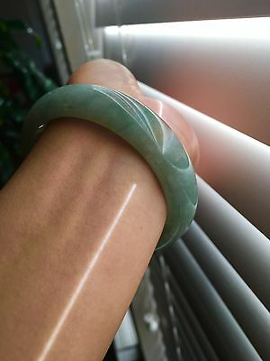 100% natural untreated undyed all green jadeite jade bangle bracelet 59 mm