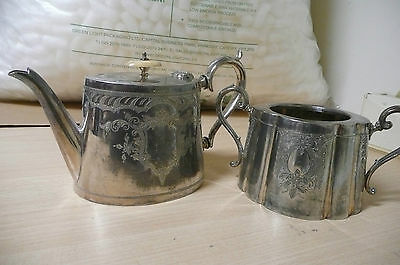 Vintage Silver Plated Teapot And Sugar Bowl