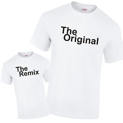 The Original & The Remix Father Son Daughter Gift Pair of White PREMIUM T-Shirts