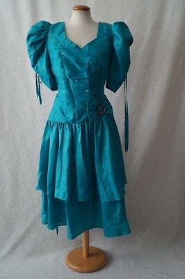 Vintage 80s green puff sleeve evening costume dress Size 14