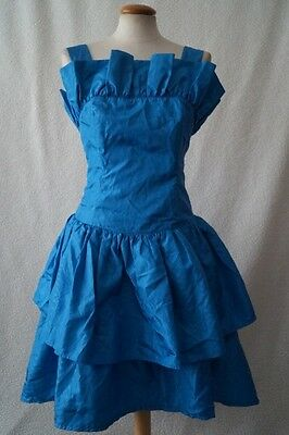 Vintage 80s blue frill cocktail prom evening dress Size 10
