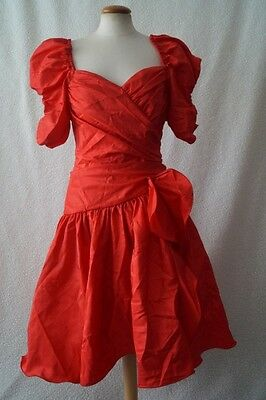 Vintage 80s red frill cocktail prom evening dress Size 8