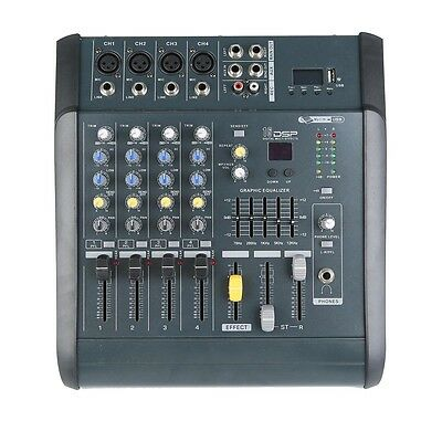 Pro 4 CH Channel Powered Mixer power mixing Amplifier Amp 16DSP W/ USB