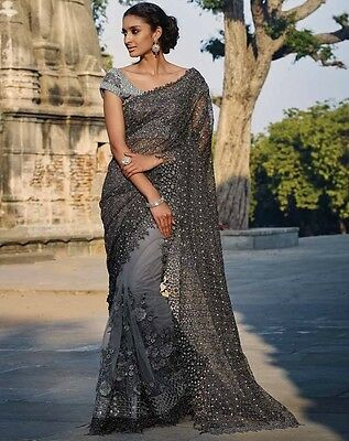 Latest Indian Designer Embroidered Grey Bollywood Inspired PartyWear Sarees