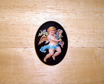 Victorian Angel In Blue 30X40mm Glitter Unset Handmade Art Bubble Cameo Cabochon