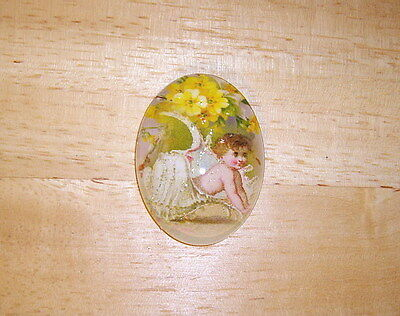 Baby Mermaid In Shell 30X40mm Glitter Unset Handmade Art Bubble Cameo Cabochon