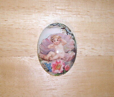 Baby Mermaid In A Shell 30X40mm Glitter Unset Handmade Art Bubble Cameo Cabochon