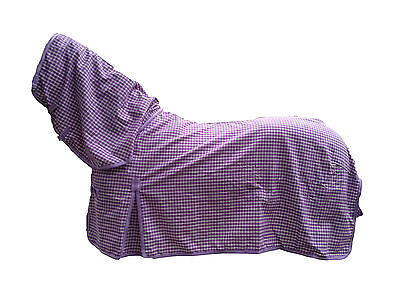 Axiom Polycotton Lavender & White Check Ripstop Unlined Horse Combo Rug 5'9