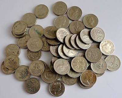 50 United Kingdom Great Britian British £1 One Pound Coins Lot/50 Various Years