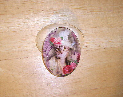 Victorian Cat In Hat 30X40mm Glitter Unset Handmade Art Bubble Cameo Cabochon