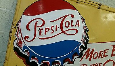 BIG OLD PEPSI COLA EMBOSSED TIN SIGN 32 by 56 INCHES