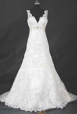 White/Ivory Lace Wedding Dress Ball Bridal Gown Custom Size 4-6+8+10+12+14+16+++
