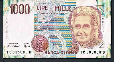 ITALY BANKNOTE 1000 P114a 1990 GVF Good serial number FC 505000