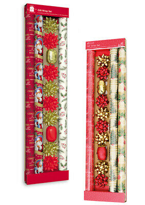 3 Rolls of Christmas Wrapping Paper with 8 Bows & Ribbon Christmas Giftwrap Set