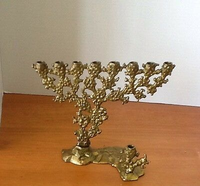 "Gold Brass 8 Branch Menorah Made in Israel 6.5"" x 8"" Plus Shamas Unique Design"
