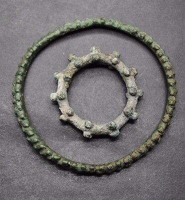 Two Very Rare Ancient Celtic Bronze Ring Money
