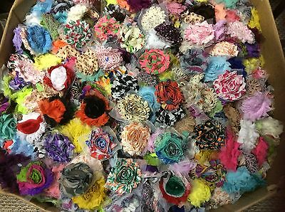 Bulk Lot of 100 Grab bag shabby chiffon rose flowers in prints and solid colors