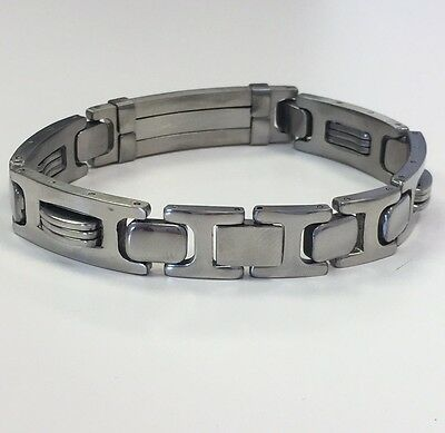 STAINLESS STEEL PLAIN SILVER TONE CHAIN LINK BANGLE MEN'S BRACELET 8.5 Inches