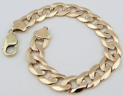 "Solid 9ct 9Carat Yellow Gold Curb Linked Bracelet 8.00"" Inches FULLY HALLMARKED"
