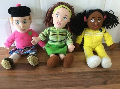 Three Balamory small soft dolls, Miss Hoolie, Archie and Josie Jump