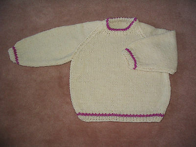 Hand Knit Child's Pullover Sweater Off-White
