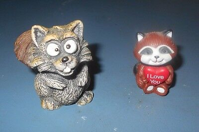 Raccoons - 1 Gargoyle Raccoon and 1 Valentine Raccoon