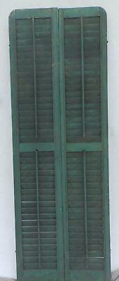 Antique Pair Rounded Arched Wood Louvered Shutter Shabby Vtg Chic 03-17P