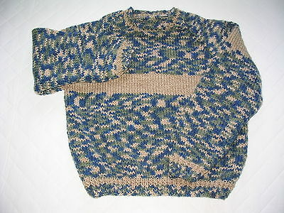 Hand Knit Child's Pullover Sweater Variegated Green Blue Beige Mix