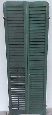 Antique Pair Rounded Arched Wood Louvered Shutter Shabby Vtg Chic 04-17P