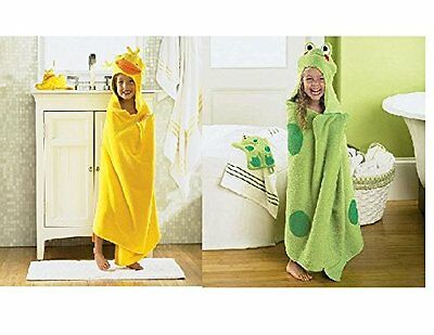 Jumping Beans Frog and Duck Hooded Bath Towel Wrap for Pool Bath or Beach - 2...