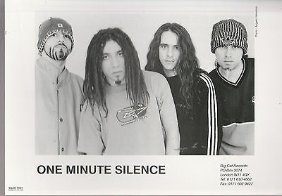 "ONE MINUTE SILENCE UK 100% OFFICIAL 8"" x 6"" BLACK & WHITE PUBLICITY PHOTOGRAPH"