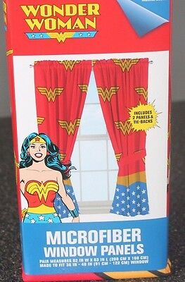 DC Wonder Woman  Girl's Window Panels  Curtains  FREE SHIPPING