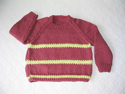 Hand Made Hand Knit Toddler/Small Child Pullover Sweater