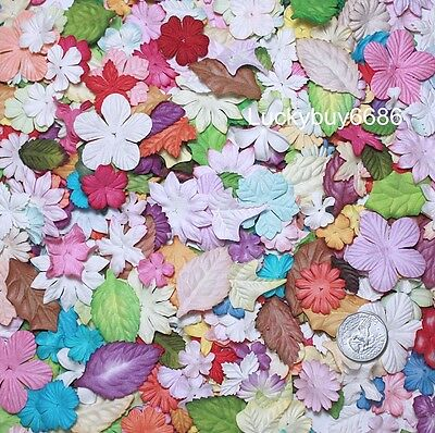 HUGE LOT 500/1000 MIXED MULBERRY PAPER FLOWERS Prima Making Crafts Scrapbooking