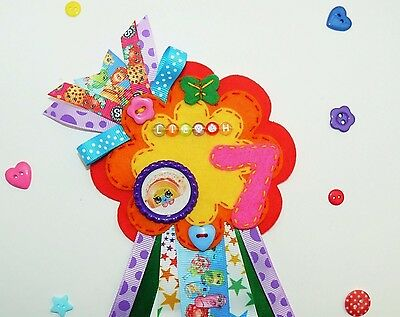 SHOPKINS Large Birthday Badge Rosette, Personalised, Rainbow colours