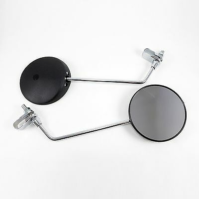 Scooter 50cc Clamp On Mirrors Round Black Chrome Right and Left Pair