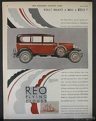 1929 Red Reo Flying Cloud The Master 5-Passenger Sport Sedan  Vintage Print Ad
