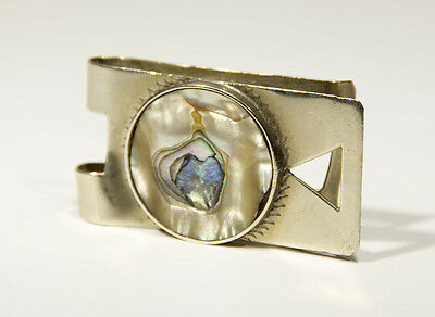 L000135 Antique Mexico .925 Sterling Money Clip / D.F. IOS / Mother Of Pearl