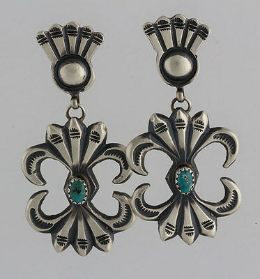 Navajo Native American Sterling Silver Cast Stamp Turquoise Post Earrings