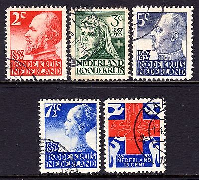 (103)     Netherlands 1927  60th Anniv of Red Cross Society Set SG354-58 VF Used