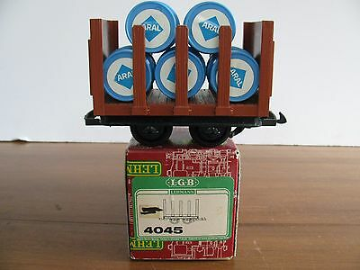 Vintage LGB G Scale Short Stake Flat Car With ARAL Oil Drum Barrels #4045 EX