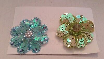 Set Costume Jewelry Pins + Brooches Flowers Sequins Faux Pearl Spring Seed beads