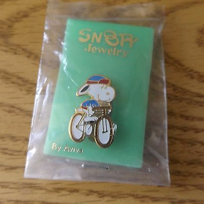 Vintage Aviva Snoopy on Bicycle Pin