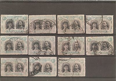 RHODESIA DOUBLE HEADS 1s (11) USED.