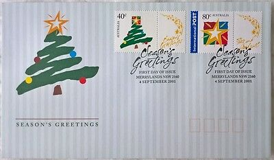 Australia Stamps, First Day Cover, Season's Greetings - 4/9/2001