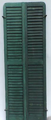 Antique Pair Rounded Arched Wood Louvered Shutter Shabby Vtg Chic 08-17P
