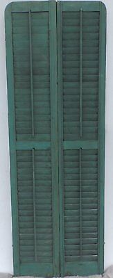 Antique Pair Rounded Arched Wood Louvered Shutter Shabby Vtg Chic 09-17P