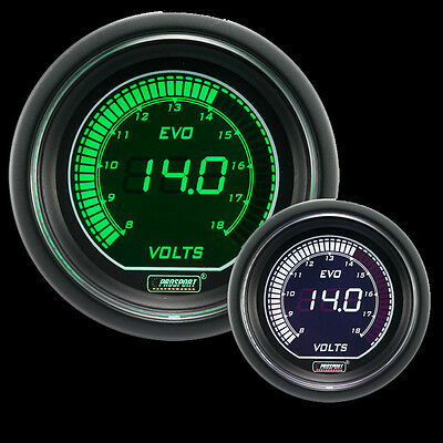 52mm EVO series Green and White Volt Gauge
