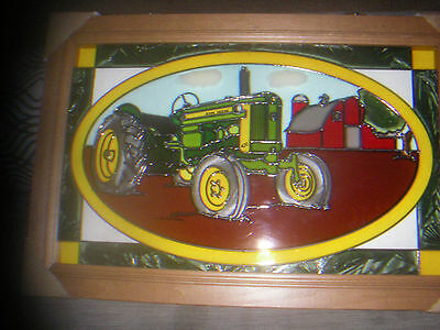 John Deere Stained Glass Picture 420S Tractor